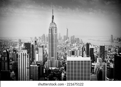 NEW YORK CITY - JUNE 17, 2014: Lower Manhattan skyline in B&W. Manhattan has been described as the economic and cultural center of the United States.