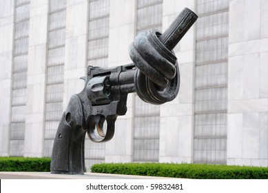 NEW YORK CITY - JUNE 17: Non Violence is a sculpture by Fredrik Reutersward at the United Nations Headquarters in June 17, 2010 in New York, New York.