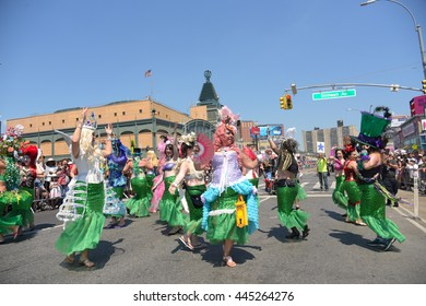 NEW YORK CITY - JUNE 18 2016: The 34th annual Coney Island Mermaid Parade, considered the largest cultural & artistic event in the United States, filled Surf Ave.