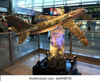 NEW YORK CITY - JUNE 19: American Airlines airplane model art sculpture statue in Terminal 8 at John F. Kennedy (JFK) international Airport in New York, New York on June 19, 2017.