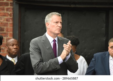 NEW YORK CITY - JUNE 20 2015: congregants of the Greater Allen A.M.E. were joined by mayor De Blasio & public officials in a march & rally at St. Alban's Memorial Park in solidarity with Emanuel AME.