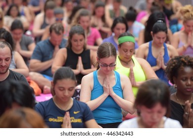 NEW YORK CITY - JUNE 20 2016: The 14th annual Solstice in Times Square: Mind Over Madness Yoga offered free lessons throughout the day.