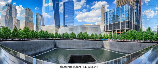 NEW YORK CITY - JUNE, 2016: Panorama view of the Memorial at World Trade Center Ground Zero The memorial was dedicated on the 10th anniversary of the Sept. 11, 2001 attacks. New York, USA