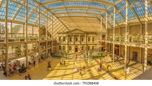 NEW YORK CITY - JUNE 2016: view of the Charles Engelhard Court in the American Wing of Metropolitan Museum of Art , the largest art museum in the United States of America