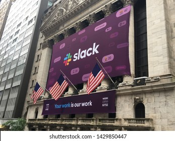 NEW YORK CITY - JUNE 21, 2019: Slack Technologies Inc. (NYSE: WORK) initial public offering IPO with direct listing on New York Stock Exchange. Stewart Butterfield CEO. Workplace SAAS software.