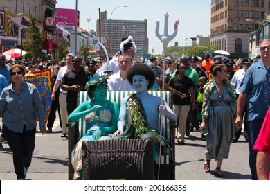 NEW YORK CITY - JUNE 21 2014:Brooklyn celebrated the solstice with its 32nd annual Mermaid Parade in Coney Island led by Mayor Bill de Blasio, his wife Chirlane McCray & their children, Dante & Chiara