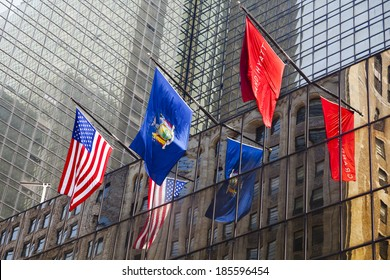 New York City - June 22: Grand Hyatt Hotel in Manhattan with colorful flags on the facade on June 22, 2013