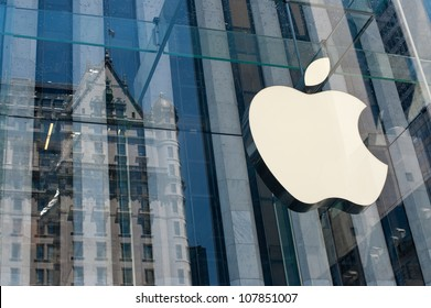 NEW YORK CITY - JUNE 23: Apple Store logo on June 23, 2012 in New York City. As of June 2012, Apple has 363 stores worldwide, with global sales of US$16 billion in merchandise in 2011.