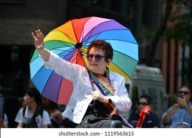 New York City, June 24, 2018 - Tennis legend Billie Jean King waves to the crowd as Grand Marshall of the New York City Pride Parade.