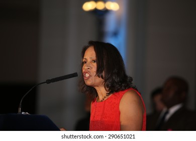 NEW YORK CITY - JUNE 24 2015: a Pride reception filled the Beaux-Arts Court of the Brooklyn Museum where hundreds listened to remarks by Mayor de Blasio & first lady Chirlane McCray. Taina Biene-Aime