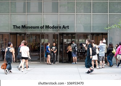 NEW YORK CITY - JUNE 25: People entering the Museum of Modern Art on June 25, 2012 in New York City, NY. The MoMA collection has grown to include over 150,000 art pieces and design objects.