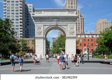 NEW YORK CITY - JUNE 25, 2015: Washington Square Park, with 9.75 acres (39,500 m2), it is a landmark in the Manhattan neighborhood of Greenwich Village, June 25, 2015 in New York, NY.