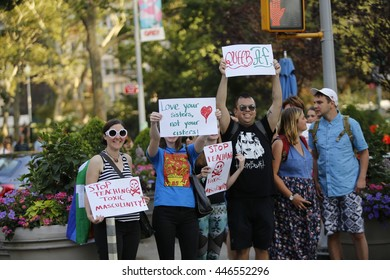 NEW YORK CITY - JUNE 25 2016: The 24th annual Dyke March NYC filled Fifth Avenue from Bryant Park to Washington Square Park.