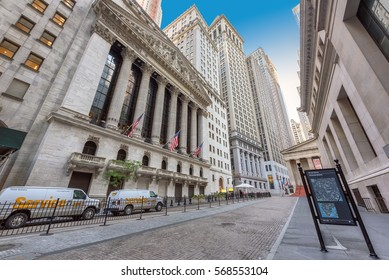 NEW YORK CITY - JUNE 25: Famous Wall street and the building New York Stock Exchange on June 25, 2016 in New York, NY. It is the largest stock exchange in the world by market capitalization.
