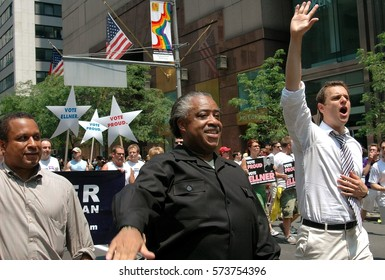 New York City - June 25, 2005:  The Reverend Al Sharpton marching with openly gay mayoral candidate Brian Ellner (right) at the 2005 Gay Pride Parade on Fifth Avenue