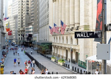NEW YORK CITY - JUNE 25: The New york Stock Exchange on the Wall street on June 25, 2016 in New York, NY. It is the largest stock exchange in the world by market capitalization.