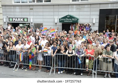 NEW YORK CITY - JUNE 26:  Large crowds gather for the annual NYC LGBT Gay Pride March in Manhattan on June 26, 2011.