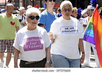 NEW YORK CITY - JUNE 26:  Lesbian rights supporters arrive for the annual NYC LGBT Gay Pride March in Manhattan on June 26, 2011.