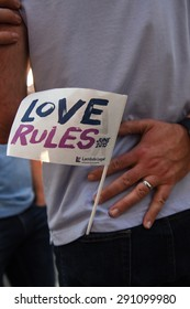 NEW YORK CITY - JUNE 26 2015: thousands of LGBT members & their supporters filled Christopher St to celebrate the Supreme Court's Obergefell decision validating same sex marriage throughout the US.