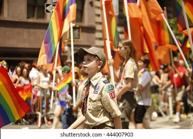 NEW YORK CITY - JUNE 26 2016: The 46th annual NYC Pride March featured over 350 contingents, marching from 36th Street to Christopher & Greenwich Sts. Scouts for equality