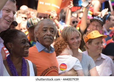 NEW YORK CITY - JUNE 26 2016: The 46th annual NYC Pride March featured over 350 contingents, marching from 36th to Christopher & Greenwich. Bill de Blasio, Chirlane McCray, Al Sharpton & Cynthia Nixon