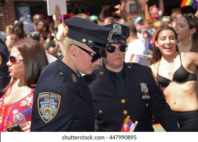 NEW YORK CITY - JUNE 26 2016: The 46th annual NYC Pride March featured over 350 contingents, marching from 36th Street to Christopher & Greenwich Sts. NYPD marchers