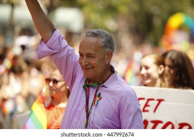 NEW YORK CITY - JUNE 26 2016: The 46th annual NYC Pride March featured over 350 contingents, marching from 36th Street to Christopher & Greenwich Sts. US senator Charles Schumer