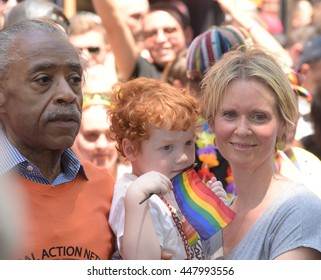 NEW YORK CITY - JUNE 26 2016: The 46th annual NYC Pride March featured over 350 contingents, marching from 36th Street to Christopher & Greenwich Sts. Cynthia Nixon & Rev Al Sharpton,