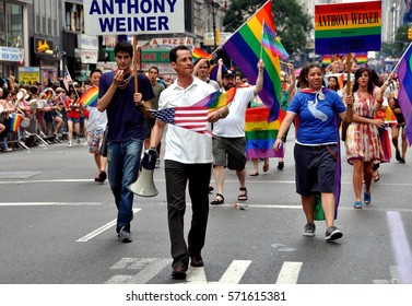 New York City - June 26, 2010:  Former U. S. Congressman Anthony Weiner marching in the 2010 Gay Pride Parade on Fifth Avenue