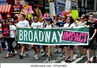 New York City - June 26. 2010:   Broadway personnel marching with Broadway Impact group at the 2010 Gay Pride Parade on Fifth Avenue