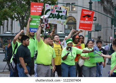 New York City, June 27, 2018 - People protesting against the Supreme Court's decision limiting the power of public employee unions in Lower Manhattan.