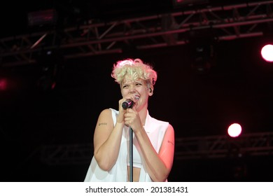 NEW YORK CITY - JUNE 27 2014: Heritage of Pride sponsored its second annual Rally on Pier 26 to kick off Pride Weekend on the 45th anniversary of the Stonewall Riots. Betty Who performs onstage