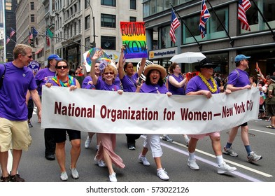 New York City - June 27, 2009:  National Organization for Women marchers at the 40th anniversary gay pride parade on 5th Avenue