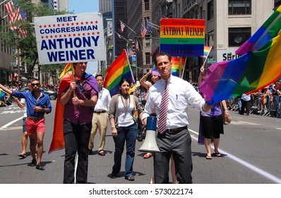 New York City - June 27, 2009:   Congressman Anthony Weiner at the 40th anniversary gay pride parade on 5th Avenue