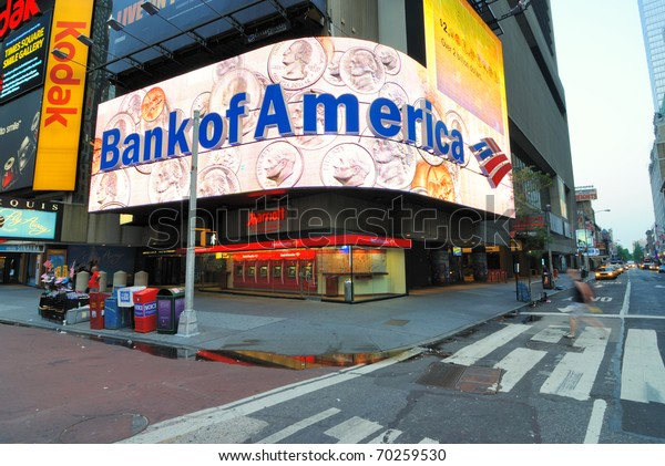 NEW YORK CITY - JUNE 27: Famous Times Square boasts the presence of numerous global companies and firms such as Bank of America June 27, 2010 in New York, New York.
