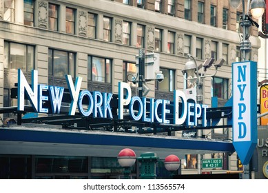 NEW YORK CITY - JUNE 28: NYPD sign. The New York City Police Department, established in 1845, is the largest municipal police force in the United States on June 28, 2012 in New York, NY.