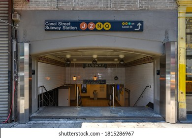 New York City - June 28, 2020: Entrance to the Canal Street Subway Station in the Chinatown neighborhood of Manhattan.