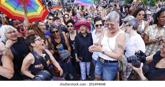 NEW YORK CITY - JUNE 28 2014: the 22nd Annual NYC Dykes March brought thousands onto Fifth Avenue & stretched from Bryant Park to Washington Square Park. Pioneer Edie Windsor joins Dyke March