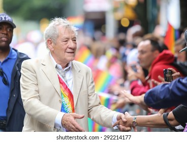 NEW YORK CITY - JUNE 28 2015: the 45th annual LGBT Pride parade drew an estimated two million spectators buoyed by the Supreme Court's Obergefell ruling on same sex marriage. Sir Ian McKellen