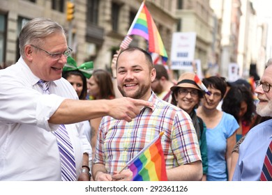 NEW YORK CITY - JUNE 28 2015: the 45th annual LGBT Pride parade drew an estimated two million spectators buoyed by the Supreme Court's Obergefell ruling on same sex marriage.