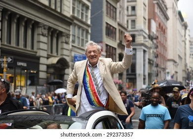NEW YORK CITY - JUNE 28 2015: the 45th annual LGBT Pride parade drew an estimated two million spectators buoyed by the Supreme Court's Obergefell ruling on same sex marriage.Grand Marshal Ian McKellen