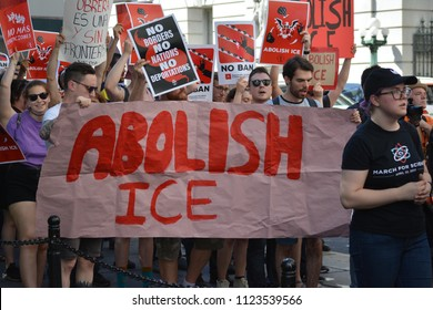 New York City, June 29, 2018 - Protest march calling on the government to abolish ICE in Lower Manhattan.