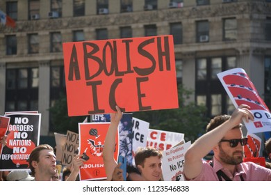 New York City, June 29, 2018 - People marching to convince the government to abolish ICE in Lower Manhattan.