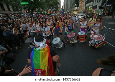 NEW YORK CITY - JUNE 29 2019: the 27th annual Dyke March filled Manhattan's Fifth Avenue in a march to Washington Square Park