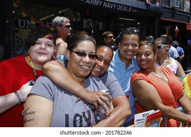 NEW YORK CITY - JUNE 29 2014: Heritage of Pride sponsored the nation's largest Gay Pride parade in Manhattan that stretched along Fifth Avenue to Christopher Street.