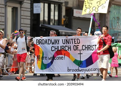 NEW YORK CITY JUNE 29 : group marching for gay rights at The Gay Pride parade 2014 in New York city, USA, JUNE 29, 2014