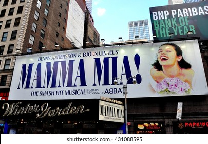 New York City - June 29, 2013:  The Winter Garden Theatre on Broadway, home to the long-running musical Mama Mia