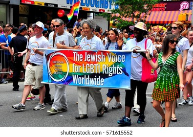 New York City - June 29, 2013:  Former Manhattan Boro President Ruth W. Messinger (center) marching with the Jewish Voice for LGBT Rights at the Gay Pride Parade on Fifth Avenue  *