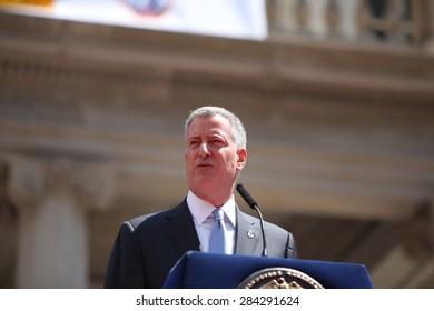 NEW YORK CITY - JUNE 3 2015: mayor Bill de Blasio & FDNY commissioner Daniel Nigro presided over the fire department's medal ceremony in City Hall Plaza.