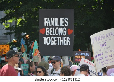 New York City, June 30, 2018 - People taking part in the Families Belong Together March for immigrants in Lower Manhattan.